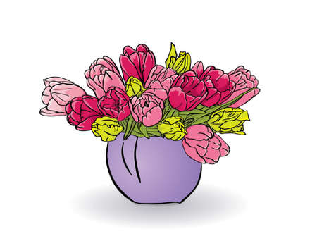 Bouquet of red, pink and yellow tulips isolated on white background, vector Vector