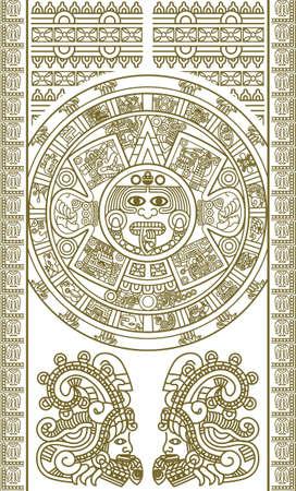 cultura maya: Calendario azteca estilizada de color oro, ilustraci�n vectorial