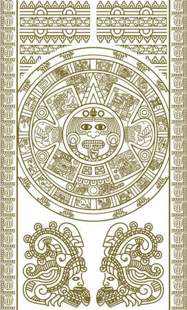 mayan culture: Stylized Aztec Calendar in gold color, vector illustration