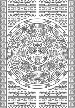 Stylized Aztec Calendar in color Vector