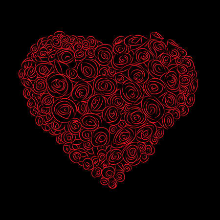 heart of red roses on a black background, vector Vector