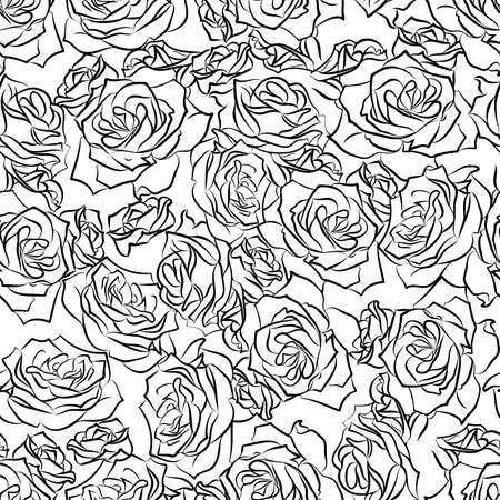 Seamless floral pattern of black roses on a white background, vector