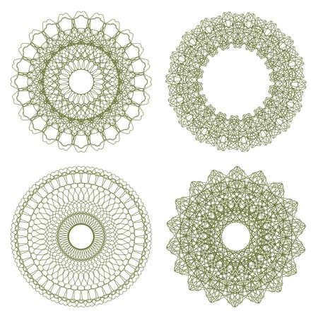 corner design: Set of vector guilloche rosettes certificate or diplomas, decorative elements