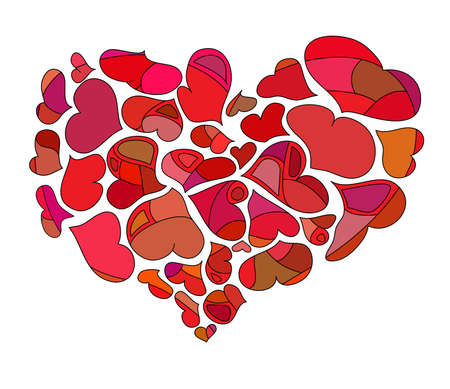 a set of decorative colored hearts on a white background Vector
