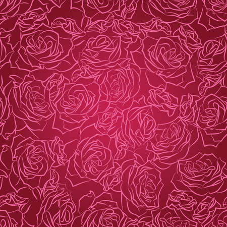 Seamless floral pattern of pink roses on a red background, vector Vector