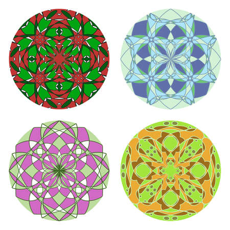 Set of colorful round ornament, mosaic vector illustration Stock Vector - 12356764
