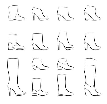 A set of fashion women shoes on a white background, vector Vector
