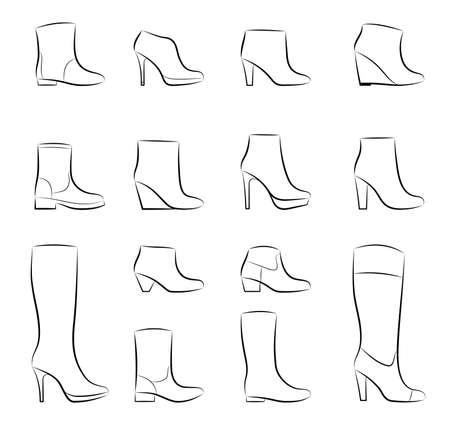 shoe sale: Un conjunto de mujeres de moda los zapatos sobre un fondo blanco, vector Vectores