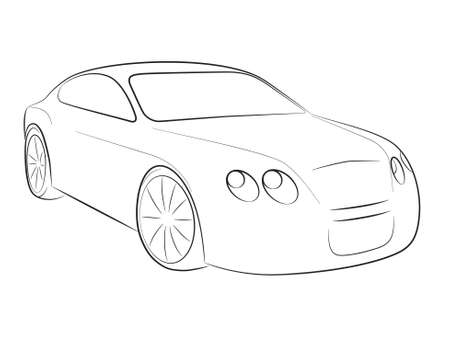 luxury travel: Cartoon silueta de un coche negro sobre un fondo blanco, vector