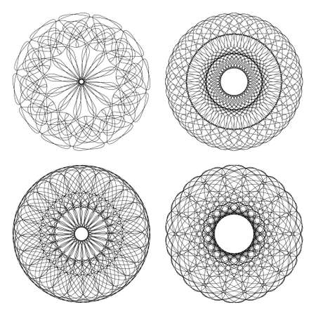 guilloche pattern: Set of vector guilloche rosettes certificate or diplomas, decorative elements