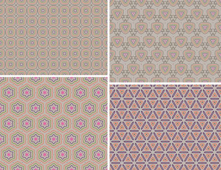 wallflower: Four seamless colorful pattern background Illustration