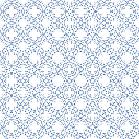 seamless blue illustration of tangier grid, abstract guilloche background Vector
