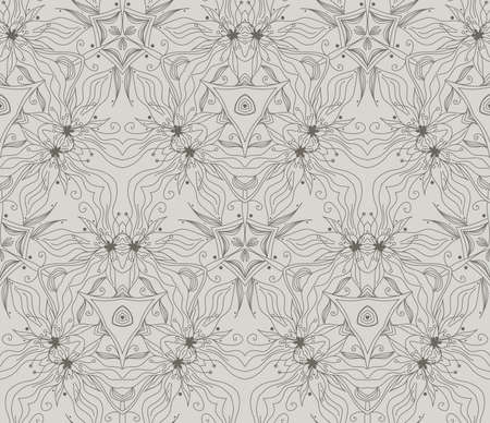 Seamless wallpaper with floral ornament in gray and beige colors Vector