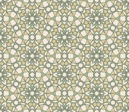 Seamless colorful retro pattern background in green and beige colors, vector illustration Stock Vector - 13075422
