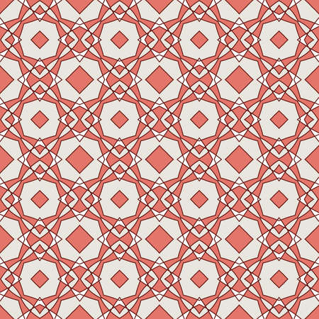 Seamless colorful retro pattern background in red and beige colors, vector illustration Vector
