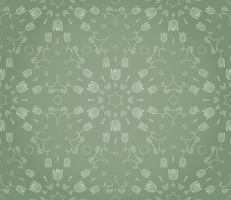 Seamless wallpaper with floral ornament in green colors Stock Vector - 13075425