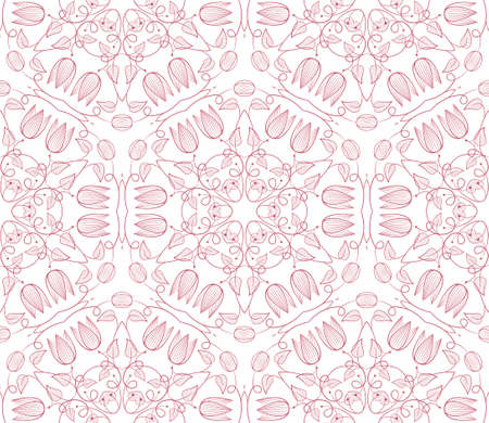 Seamless wallpaper with floral ornament in red colors Stock Vector - 13123687
