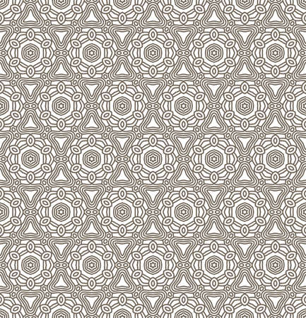 Seamless wallpaper with aztec ornament in brown and beige colors Vector