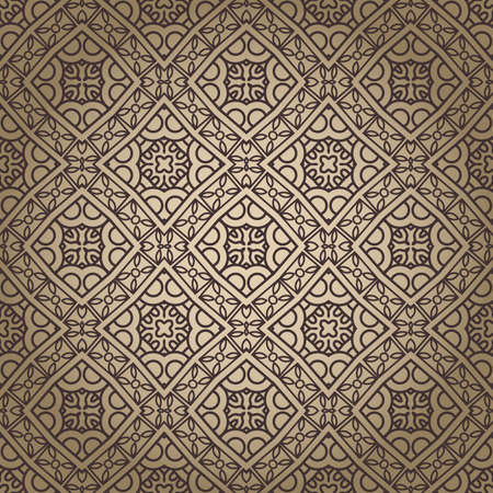 Seamless wallpaper with aztec ornament in brown and gold colors Vector