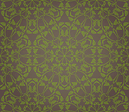 Seamless wallpaper with floral ornament in green and brown colors Stock Vector - 13160237