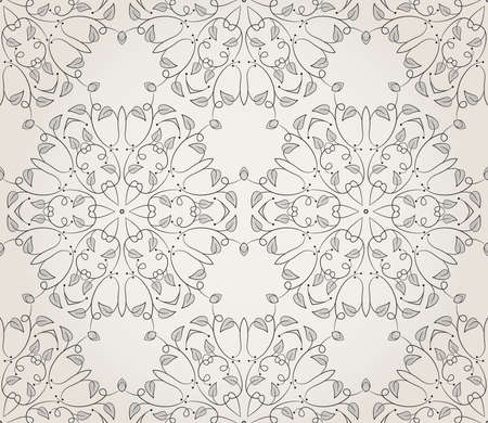 Seamless wallpaper with floral ornament in black and beige colors Stock Vector - 13160234