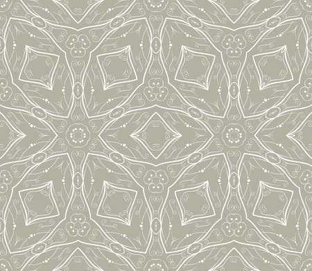 Seamless wallpaper with floral ornament in white and beige colors Vector