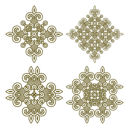 Seamless wallpaper with aztec ornament in gold colors, design element Vector