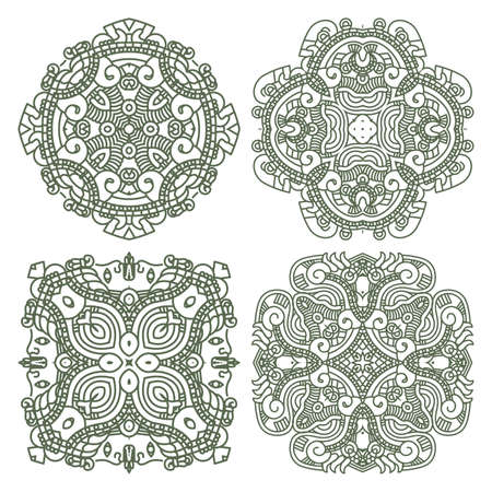 Wallpaper with aztec ornament in green colors, design element Stock Vector - 13205003