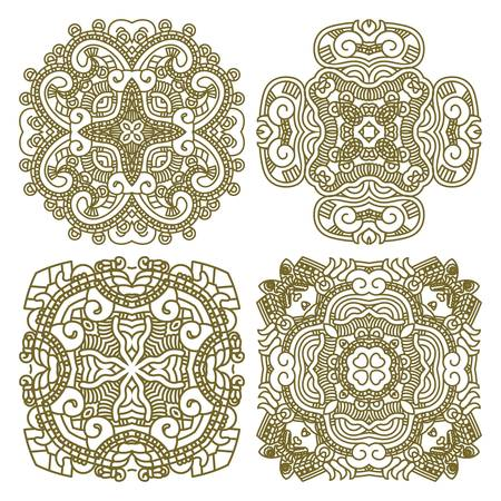 Wallpaper with aztec ornament in gold colors, design element Vector