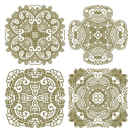 mayan culture: Wallpaper with aztec ornament in gold colors, design element