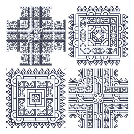 Wallpaper with aztec ornament in gray colors, design element Vector