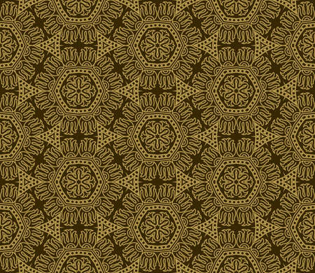 Seamless wallpaper with aztec ornament in brown and gold colors Stock Vector - 13277236