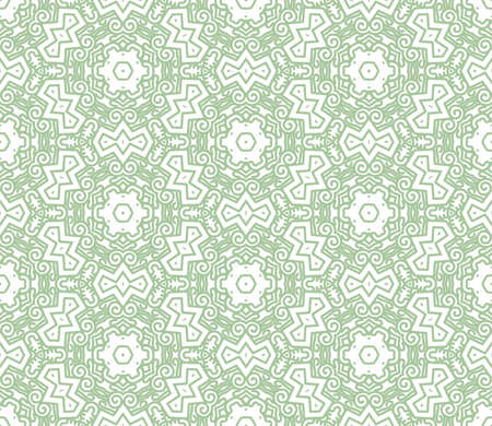 Seamless wallpaper with aztec ornament in green color Vector