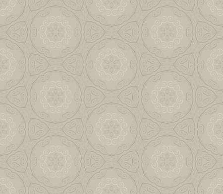 Seamless wallpaper with floral ornament in brown and beige colors
