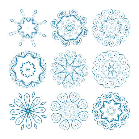 Set of vector guilloche rosettes certificate or diplomas, decorative elements Vector