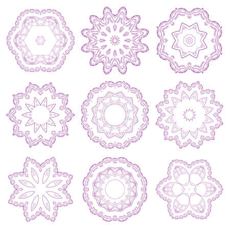 Set of vector guilloche rosettes certificate or diplomas, decorative elements Vector