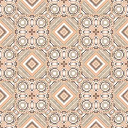 Creative design of a retro background with circles and squares in brown colors Vector