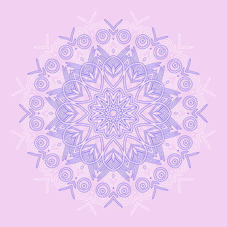 Abstract round ornamental pattern in blue and pink colors Vector