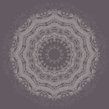 Abstract round ornamental pattern in beige and gray colors Stock Vector - 13336439