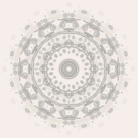 Abstract round ornamental pattern in beige and gray colors Vector