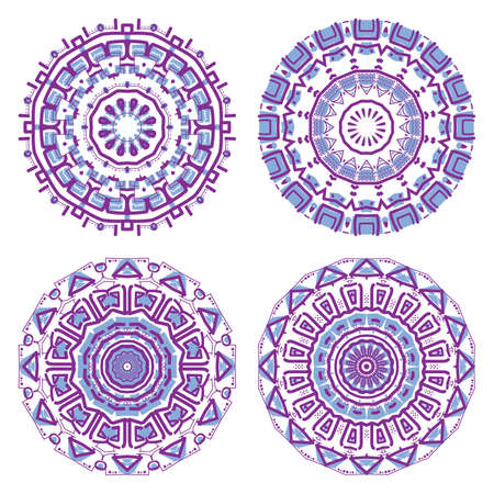 mayan prophecy: Set of colorful round ornament, mosaic vector illustration Illustration