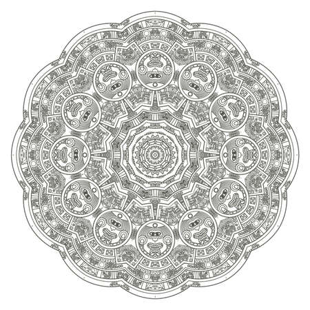 Stylized Aztec Calendar in gray color, vector illustration