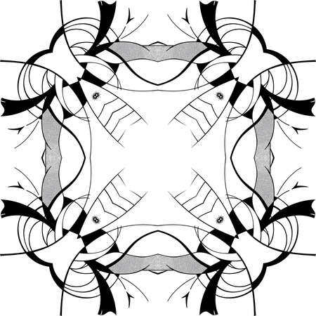 Abstract square ornamental pattern in black and white colors Vector