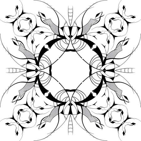 Abstract square ornamental pattern in black and white colors Stock Vector - 13394006