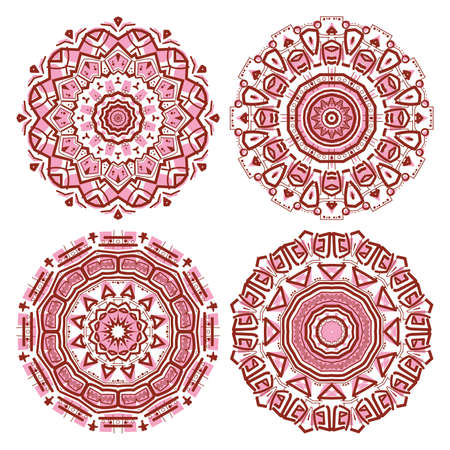 mayan prophecy: Set of colorful ethnicity round ornament, mosaic vector illustration