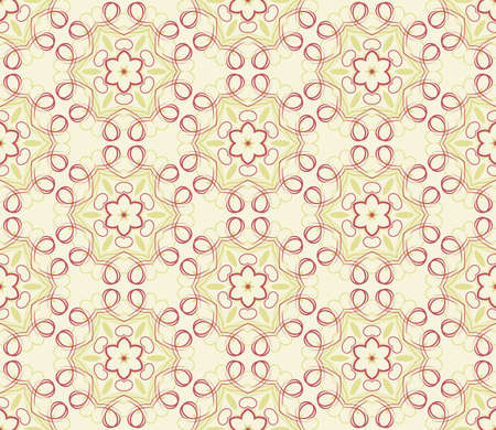 Seamless decorative wallpaper with floral ornament in red and yellow colors Stock Vector - 13394012