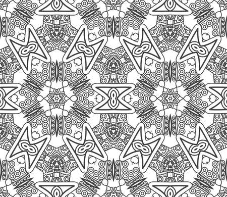 mayan culture: Seamless wallpaper with aztec ornament in black and white colors Illustration