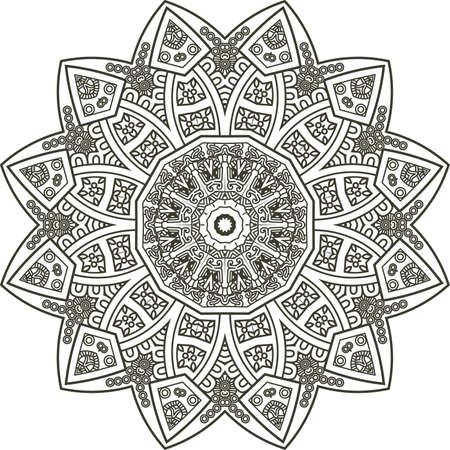 Ethnicity round ornament in black and white colors, mosaic vector illustration