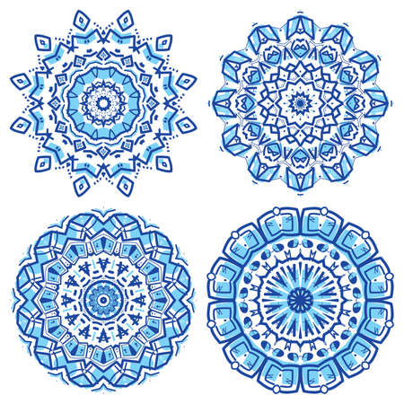 mexican art: Set of colorful ethnicity round ornament, mosaic vector illustration