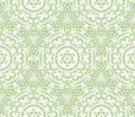 Seamless decorative wallpaper with floral ornament in green color Stock Vector - 13394015